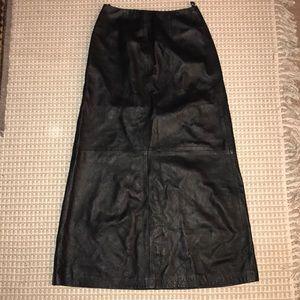 Tak Hau leather full length skirt